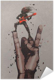 Pixerstick Poster Stor hand i rock n roll skylt med gitarristen, illustration målning