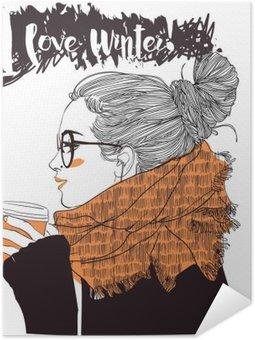 Pixerstick Poster Ung vacker kvinna med kaffekopp