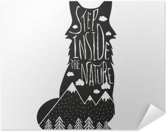 Pixerstick Poster Vektor handritad bokstäver illustration. Stig in naturen. Typografi affisch med räv, berg, tallskog och moln.