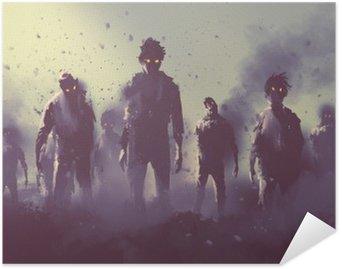 Pixerstick Poster Zombie publiken gå på natten, halloween koncept, illustration målning