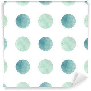 Pixerstick Wall Mural Watercolor texture. Seamless pattern. Watercolor circles in pastel colors on white background. Pastel colors and romantic delicate design. Polka Dot Pattern. Fresh and Mint Colors.