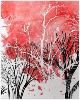 Plakat Abstrakt silhuett av trær
