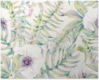 Akvarel blade sømløse mønster med bregner og blomster Plakat
