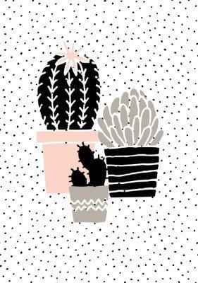 Hånd tegnet kaktus plakat Plakat