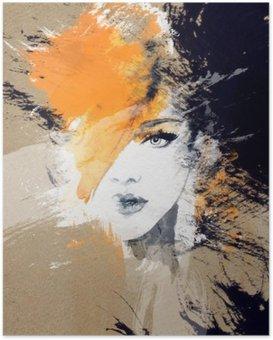 Plakat HD Kvinne portrett. Abstrakt akvarell. Fashion bakgrunn