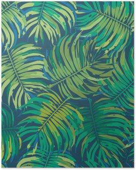 Plakat HD Palm Leaves Tropisk Seamless Vector Pattern
