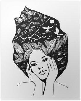 Plakat Illustrasjon, grafisk svart-hvitt portrett av kvinne