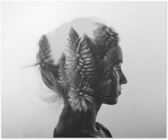 Kreativ dobbelt eksponering med portræt af ung pige og blomster, sort / hvid Plakat