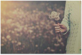 Kvinde med flok mælkebøtte blomster i hånden Plakat