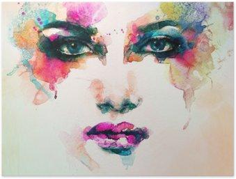 Plakat Kvinne portrett. Abstrakt akvarell. Fashion bakgrunn
