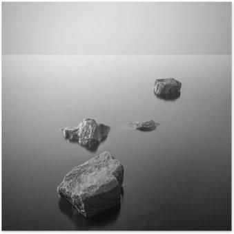 Plakat Minimalistisk tåkete landskap. Svart og hvit.