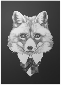 Plakat Portrett av Fox i dress. Håndtegnet illustrasjon.