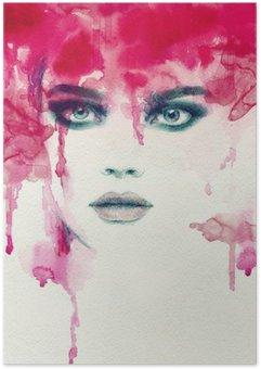 Smuk kvinde. akvarel illustration Plakat
