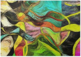 Swirling Shapes, Color and Lines Plakat