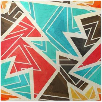 Ungdom geometrisk sømløs mønster med grunge effekt Plakat