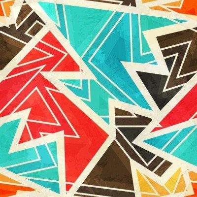 Plakat Ungdom geometrisk sømløs mønster med grunge effekt