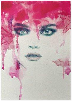 Plakat Vakker dame. akvarell illustrasjon