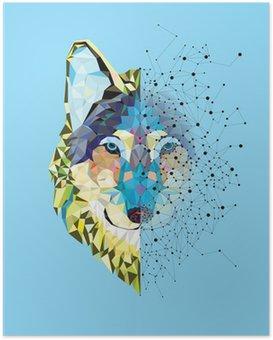 Plakat Wolf hodet i geometrisk mønster med stjerne linje vektor