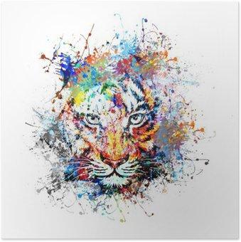 Plakát Яркий фон с тигром