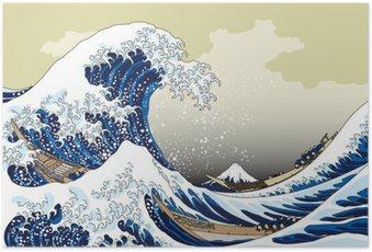 Plakát 富 嶽 三 十六 景 神奈川 沖浪