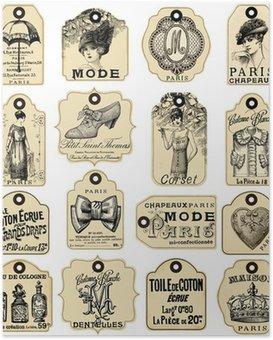 Plakát 16 francouzsky Retro štítky