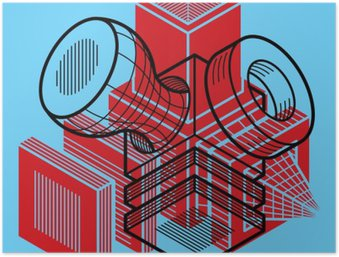 Plakát 3D design, abstraktní vektorové trojrozměrný tvar krychle.