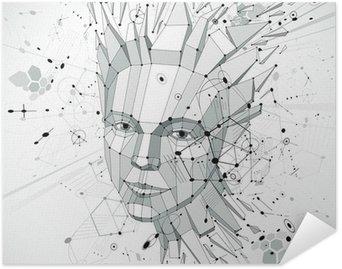 Plakát 3d vector low poly portrait of a smart woman, human thoughts