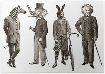 Plakát 4 zvířata muži