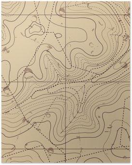Plakát Abstract Retro Místopis mapa Background