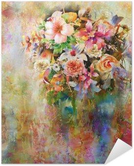 Plakát Abstrakt barevné květiny akvarelu. jarní vícebarevný