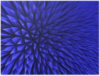 Plakát Abstrakt Poligon Chaotic modrém pozadí