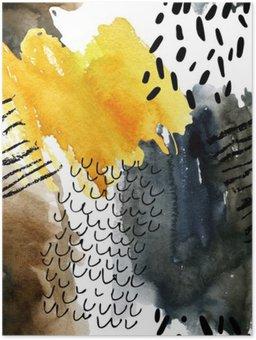 Plakát Abstraktní akvarel bezešvé vzor v podzimních barvách.