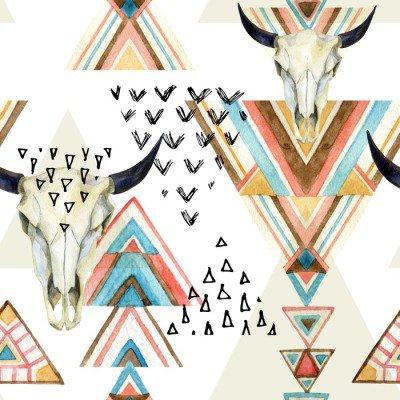 Plakát Abstraktní akvarel zvířecí lebka a geometrický ornament bezešvé vzor.