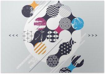 Plakát Abstraktní geometrické kompozice s ozdobnými kruhy