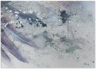Plakát Abstraktní malby s fuzzy a vitráží konstrukce s jemným peřím siluetu.