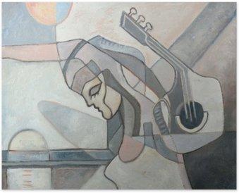 Plakát Abstraktní malby s ženou a kytaru