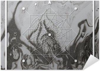 Plakát Abstraktní mystické geometrie, lineární alchymie, okultní, filozofický znamení.