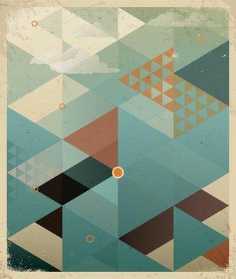 Plakát Abstraktní Retro Geometrické pozadí s mraky