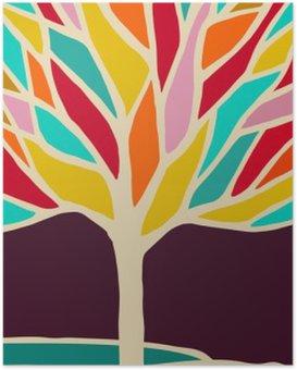 Plakát Abstraktní strom ilustrace s barevnými větvemi