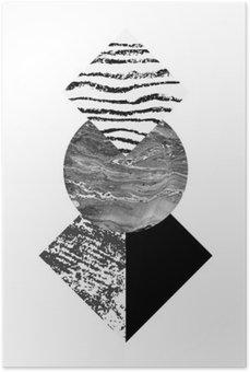 Plakát Abstraktní tvary geometrie s akvarely a grunge textur