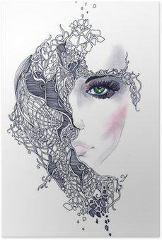 Plakát Abstraktní žena tvář