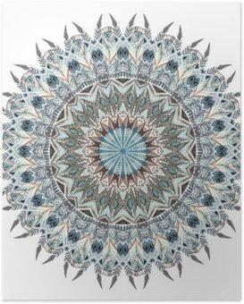 Plakát Akvarel abstraktní mandala se stylizovanými peřím