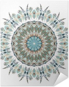 Plakát Akvarel etnických peří abstraktní mandala.