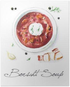 Plakát Akvarel Food Malba - Boršč Polévka