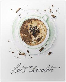 Plakát Akvarel Food Malba - Hot Chocolate