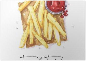 Plakát Akvarel Food Malba - Hranolky