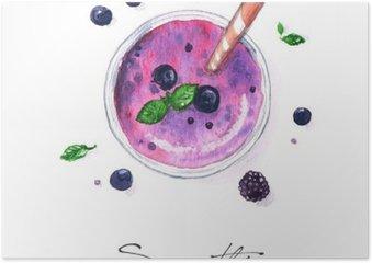Plakát Akvarel Food Malba - Smoothie