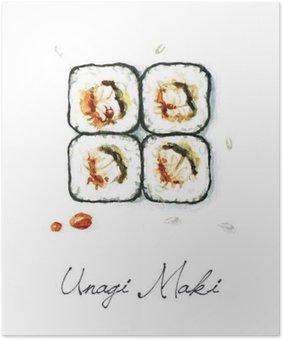 Plakát Akvarel Food Malba - Unagi Maki