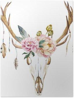 Plakát Akvarel jelení hlava s květy