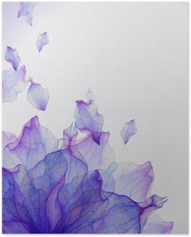 Plakát Akvarel karta s fialovým okvětních lístků